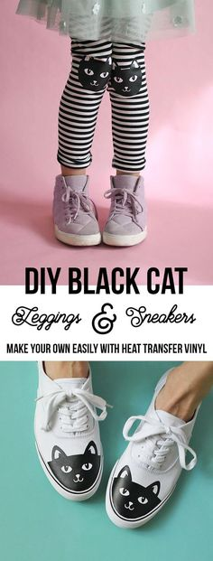 DIY Cat Shoes: How to Add Heat Transfer Vinyl to Shoes and add cute kitty knee patches to leggings with your Silhouette or Cricut! Cute Halloween Outfits, Halloween Leggings, Diy Halloween, Diy Leggings, Leggings Shoes, Cat Shoes, Do It Yourself Fashion, Sneakers, Make Your Own