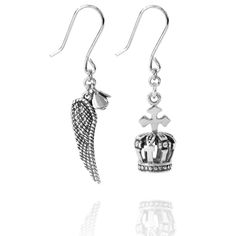 Crown and Wing Rose Earrings.In signature Lindi Kingi style, these earrings are a mismatched combination thats a little bit regal and romantic. Rose Earrings, Bohemian Jewelry, Wings, Romantic, Crown, Jewels, Beautiful, Design, Style