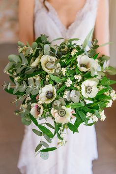 Earthy wedding bouquet for bride - greenery + white flower bouquet with anemones, waxflowers, Ruscus and eucalyptus {Elias Kordelakos Photography} Spring Wedding Flowers, Wedding Flower Decorations, Wedding Flower Arrangements, Bride Bouquets, Bridesmaid Bouquet, Botanical Wedding, Floral Wedding, Anemone Bouquet, Anemones