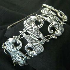 Bracelet | Los Castillo. 'Fish' bracelet.  Sterling silver. circa 1940's (pre-'eagle')