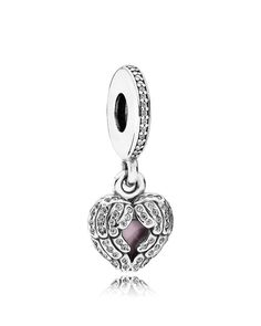 Pandora Dangle Charm - Sterling Silver, Cubic Zirconia & Enamel Angel Wings, Moments Collection