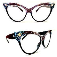 50ea4d250ffcf Half and Half Crystal Cateye Sunglasses Armações De Óculos, Óculos Gatinho,  Usando Óculos,