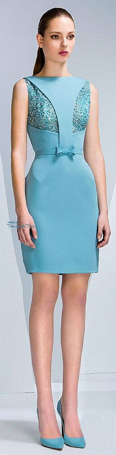 Georges Hobeika Fall 2015 RTW - very similar to the teal blue dress, but with…