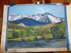 Contemporary Artists of Colorado: Pastel Landscape Work-in-progress by Colorado Artist Margretta S. Perry