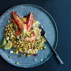 White Quinoa Grits with Shrimp and Mexican Grilled Corn. I'm gonna have to skip them heads, though...