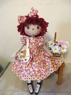 "18"" Primitive Raggedy Ann cloth doll red hair paint face felt kitty Spring decor #NaivePrimitive"
