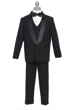 Classl boys one button tuxedo. Ideal for a wedding or any other formal event!  One button jacket with satin lapels Tuxedo pants Vest and bow tie Tuxedo shirt  To get the exact measurement, click on the icon below. Look forSize Chart A.