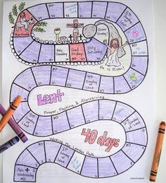 I made this printable Lenten calendar for kids this week. It's a fun visual for kids so they can see the 40 days of lent of lent going by, and Easter approaching. I left room in the squares to writ. Catholic Icing, Catholic Lent, Catholic Crafts, Catholic School, Catholic Easter, Catholic Holidays, Teaching Religion, Religion Catolica, Religion Activities