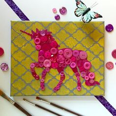 Hot pink unicorn on a vibrant yellow background. Enough magic for any little girls bedroom or playroom and featured on an 8x10 canvas.