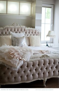 Tufted Feminine Bed -- absolutely gorgeous!