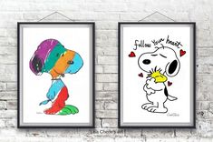 Snoopy and Woodstock Prints, Follow Your Heart,nursery art, feelgood,affirmation