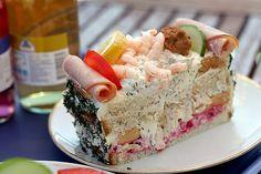 Smörgåstårta - Swedish sandwich cake.
