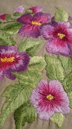 Home Decor Purple Violet. Wall Art Viola. Hand Embroidery