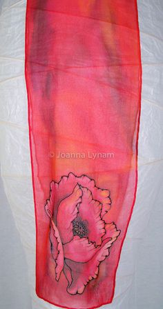 "Red Poppy Silk Scarf- hand painted silk scarves. 8"" x 52"" chiffon silk."