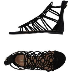 Dsquared2 Sandals ($185) ❤ liked on Polyvore featuring shoes, sandals, black, round cap, black leather shoes, round toe shoes, dsquared2 shoes and black flat shoes