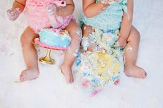 Chloe & Camille's cake smash aftermath.