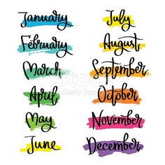 Set of labels of the months of the year. Fashionable calligraphy. January, February, March, April, May, June, July, August, September, November, December. Vector illustration on white background with...