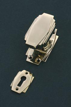 Art Deco Door Knobs and Escutcheon in unlacquered brass. From our range of Art Deco Door Furniture. http://www.priorsrec.co.uk/art-deco-brass-escutcheon-/p-3-28-72-69