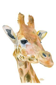 Girafe est une impression Giclée de ma peinture aquarelle originale. Mesure 4 x 6. (portrait / vertical orientation)    Imprimé sur papier fine art en utilisant des encres à pigments darchivage. Il est difficile de dire de la peinture originale de lempreinte ! Cette impression de qualité permet à plus de 100 ans de couleurs vives dans un affichage de base typique.    Impression est envoyée dans une pochette cellophane avec un carton dans un emballage robuste pour le protéger pendant lexp...