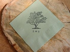 Rustic Personalized Sage Green Wedding Cocktail Napkins With Live Oak Tree and Couples Initials - Set of 50