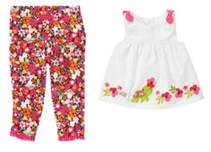 Gymboree Baby Girl Floral Pant and Turtle Top Set 0-3 Months $16.95