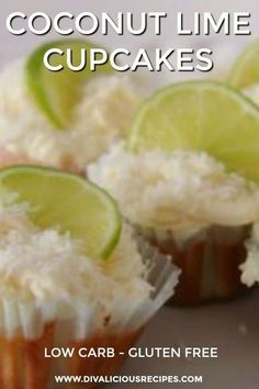 These low carb coconut lime cupcakes are the delicious combination of coconut and lime which is a favourite flavour combo of mine.