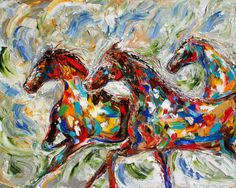 "Wild Horses Equine 24"" x 30"" Gallery Quality Giclee Print on Museum Archival canvas of Original painting by Karen Tarlton fine art"