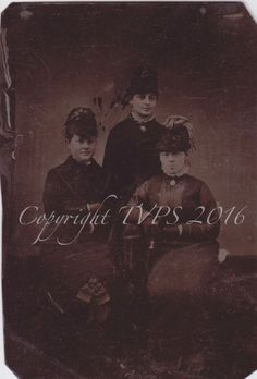 Tintype photo of three Victorian women, gloves and hats