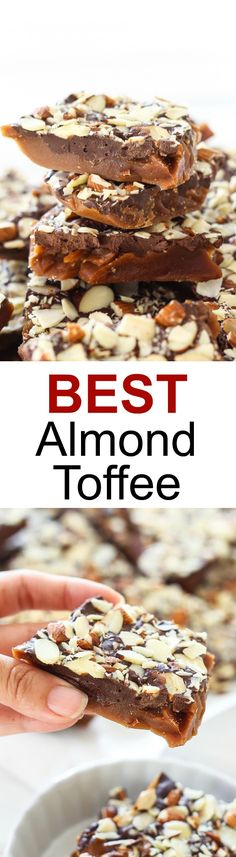 Toffee – easy and the best homemade almond toffee recipe that is sweet, nutty, crunchy. Perfect candy for Christmas holidays Homemade Toffee, Homemade Candies, Homemade Recipe, Easy Delicious Recipes, Delicious Desserts, Yummy Food, Candy Recipes, Sweet Recipes, Dessert Recipes