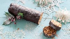 With no added sugar, this Maltese chocolate salami uses dates, apricots and nuts for natural sweetness and crunch. With a generous hit of whisky, this is definitely a dessert for adults. Christmas Log Recipes, Christmas Log Cake, Christmas Biscuits, Christmas Cooking, Noel Christmas, Christmas Desserts, Xmas Recipes, Maltesers Chocolate, Chocolate Log