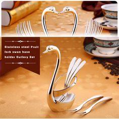 TTLIFE Stainless Steel Fork Fruit Food Fork Knife Base Holder Creative Gift Tableware Set (1 Swan Base with 5 Fork )