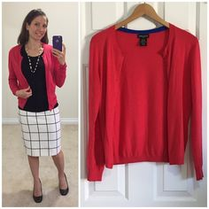 Spotted while shopping on Poshmark: Lord & Taylor red cardigan! #poshmark #fashion #shopping #style #Lord & Taylor #Sweaters