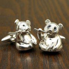 Panda Bear Cufflinks, Sterling Silver, Handmade. $92.00, via Etsy.