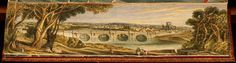 Fore-edge paintings: 'The lay of the last minstrel', 1823, by Sir Walter Bart Scott -- View of Kelso, Scotland