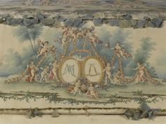 Chest for the baby clothes of the Dauphin, son of Louis XVI, on the occasion of his birth, October 22, 1781 .  Externally and internally lined with white taffeta  on which are painted allegories, mythological subjects, pastoral and popular festivities scenes. The figures of Louis XVI and Marie-Antoinette crowned by Cupids painted on the lid. The edges of the chest are filled with light garlands of artificial flowers made of fabric (via Réunion des musées nationaux)