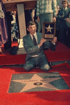 Leonard Nimoy receives star on Hollywood Walk of Fame on Jan. 16, 1985, in Los Angeles.