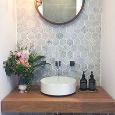 49 Simply Black And White Tile Bathroom Decor Ideas Guest Bathrooms, Bathroom Renos, Master Bathroom, Rental Bathroom, Bathroom Renovations, Sinks For Small Bathrooms, Master Master, Relaxing Bathroom, Loft Bathroom