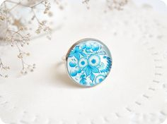 Light Blue Ring - Adjustable Ring - Ukrainian Folk Painting Ring - Rings Epoxy Resin Jewelry - Cocktail Ring - Art Jewelry