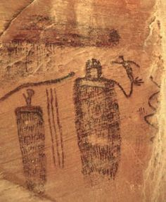 Pictograph panel along Seven Mile Creek, Utah. 331 x 272 pixels, 36 K.