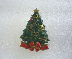 Vintage Resin Christmas Tree Tac Pin / Gift by GrannysInspirations