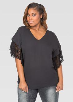 Lace Sleeve V-Neck Tunic Lace Sleeve V-Neck Tunic