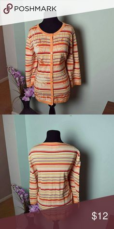 Beautiful Mango Colored Striped Cardigan In excellent condition Sweaters Cardigans