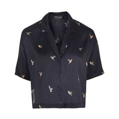 Topshop Hummingbird Shirt (130 BRL) ❤ liked on Polyvore featuring tops, shirts, topshop, navy blue top, navy top, boxy crop tops, navy blue short sleeve shirt and polyester shirt