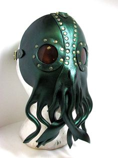 Nautical Cthulhu Mask sculpted leather squid by WastelandArtisan