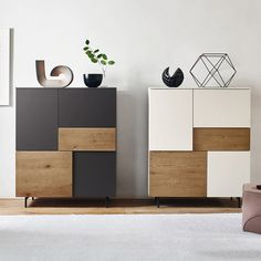 The Incontro sideboard system offers many opening combinations; hinged doors, bottom-hung doors or drawers are available as shown in the photo. The sideboard can stand directly on the floor with transparent methacrylate feet. Sideboard Modern, Modern Buffet, Credenza, Wardrobe Door Designs, Wardrobe Design Bedroom, Modern Wardrobe, Plywood Furniture, Home Furniture, Furniture Design