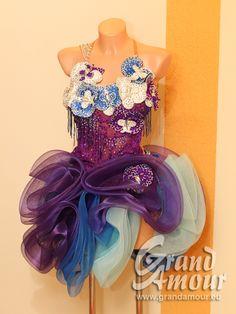 Used Latin dress ☆ ブルー&パープルと蘭のモチーフ - Dress for sale