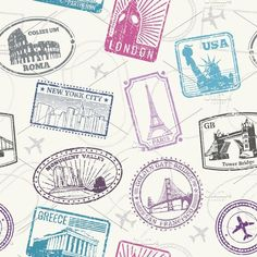 World monuments seamless pattern by Microvector on @creativemarket
