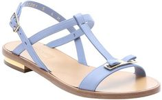 "Salvatore Ferragamo Calfskin ""Marino"" Bow Strap Sandals in Light Blue"