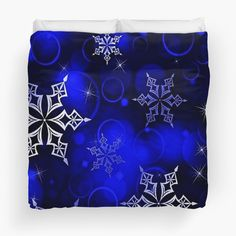 """Royal Blue Snowflake Motif"" Duvet Cover by HavenDesign 