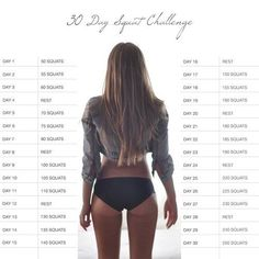 30 day squat | http://awesomeworkoutexercisescollection.blogspot.com